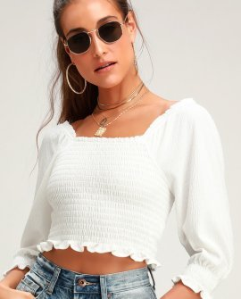 Brencye Ivory Smocked Crop Top