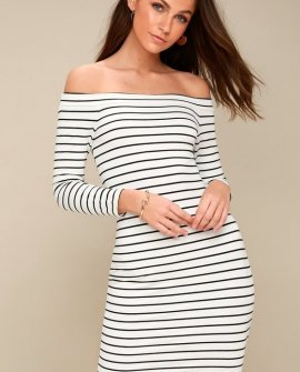 Bridget Black and White Striped Off-the-Shoulder Midi Dress
