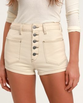 Bridgette Cream Button-Fly Denim Shorts