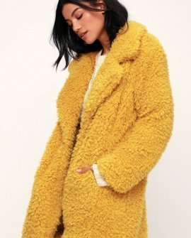 Briella Mustard Yellow Faux Fur Coat