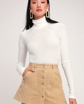 Brighton Beige Corduroy Button-Up Mini Skirt