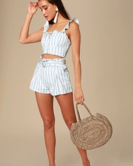 Bring the Heat Blue and White Striped Ruffled Crop Top