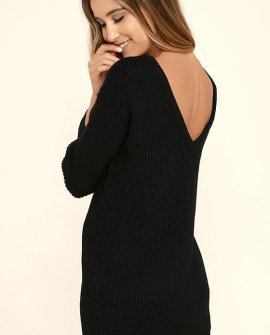 Bringing Sexy Back Black Backless Sweater Dress