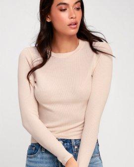 Brita Pale Pink Long Sleeve Thermal Crop Top