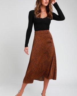Brosnan Brown Satin Leopard Print Midi Skirt