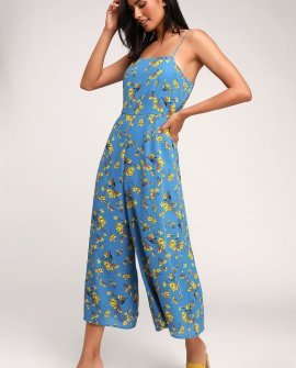 Bryony Blue Floral Print Wide-Leg Jumpsuit