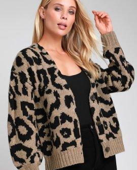 Bushwick Taupe Leopard Print Knit Cardigan
