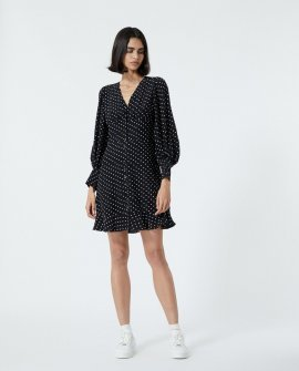 Buttoned Short Black Dress With Polka Dots