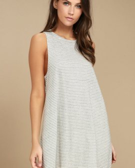 By and By Cream Striped Swing Dress