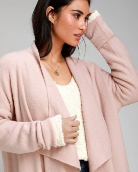 By the Fireside Blush Pink Knit Oversized Cardigan Sweater