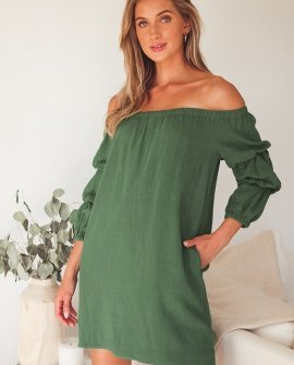 By the Pier Washed Green Off-the-Shoulder Puff Sleeve Mini Dress