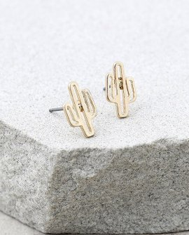 Cacti Cutie Gold Earrings