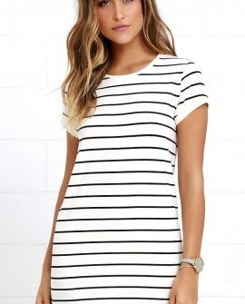 Cafe Society Black and Cream Striped Shirt Dress