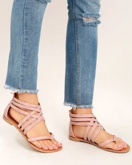 Cairo Queen Blush Nubuck Strappy Thong Sandals