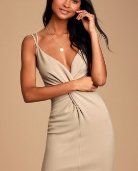 Callaway Taupe Twist-Front Bodycon Dress