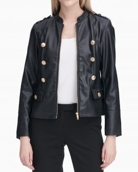 Military Button Front Faux Leather Jacket