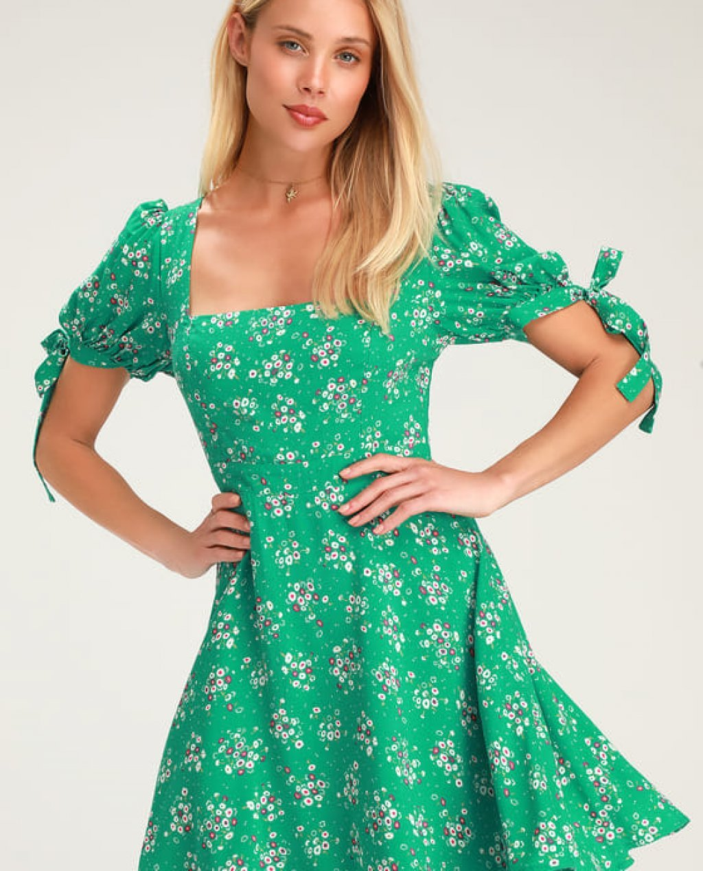 Camellia Curtsies Green Floral Print Skater Dress