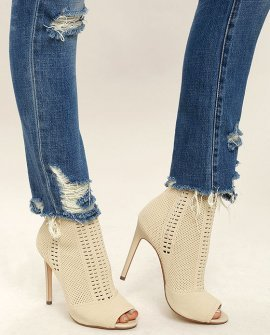 Candid Nude Knit High Heel Peep-Toe Booties
