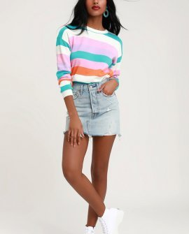 Candy Paint White Multi Striped Sweater Top
