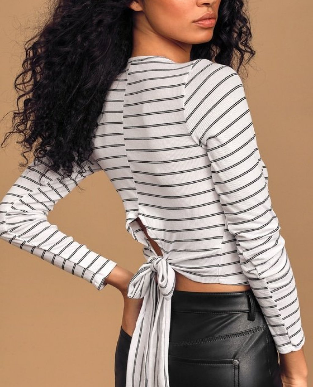 Cannes Black and White Striped Tie-Back Top