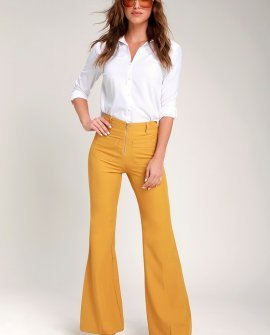 Cantrelle Mustard Yellow Zip-Front Flare Pants