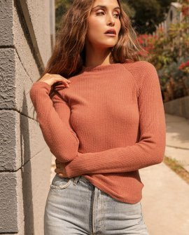 Capture Your Charm Orange Ribbed Knit Long Sleeve Top