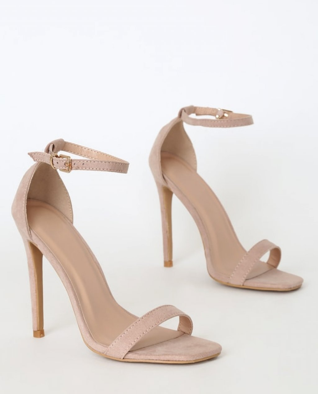 Caraleigh Nude Suede Square Toe Ankle Strap Heels