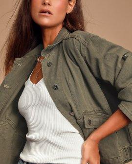 Caraway Olive Green Denim Utility Jacket