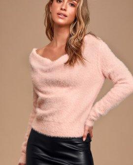 Care For You Blush Eyelash Knit Cowl Neck Reversible Sweater