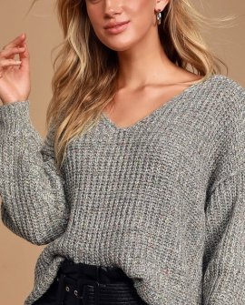 Caring Kisses Heather Grey V-Neck Knit Confetti Sweater