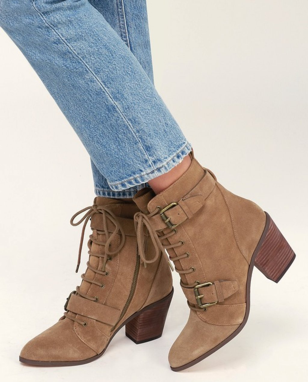 Carleton Light Brown Genuine Suede Leather Lace-Up Mid-Calf Booties