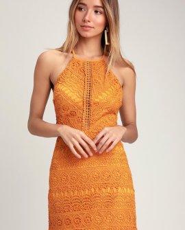 Carlina Mustard Yellow Crochet Lace Mini Dress