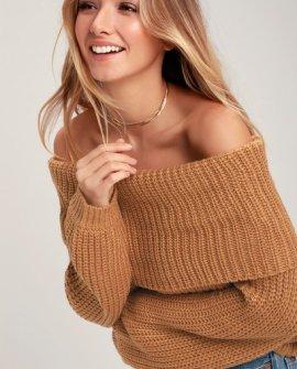 Carmichael Light Brown Off-the-Shoulder Knit Sweater