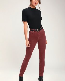 Carrgrove Washed Burgundy High-Waisted Skinny Jeans