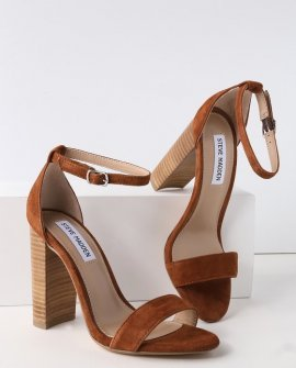 Carrson Chestnut Suede Ankle Strap Heels