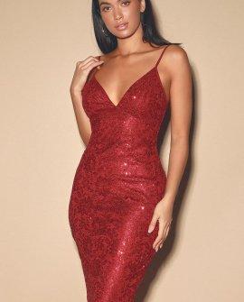Cassius Red Sequin Lace Bodycon Midi Dress