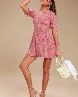 Castana Rust Red Print Button-Up Dress