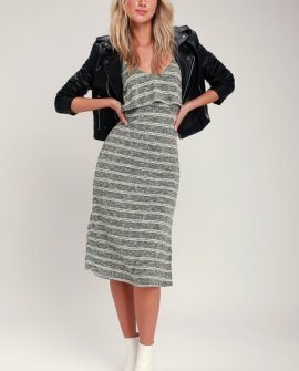 Castaway Olive Green Striped Sleeveless Bodycon Midi Dress