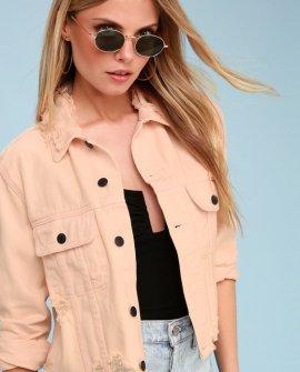 Castro Blush Pink Distressed Denim Cropped Jacket