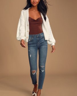 Casually In Love Medium Wash High-Rise Distressed Skinny Jeans