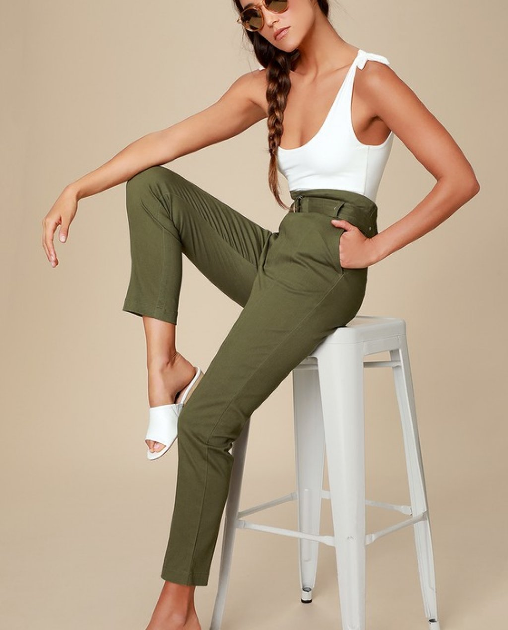 Cedar Olive Green Belted High-Waisted Pants