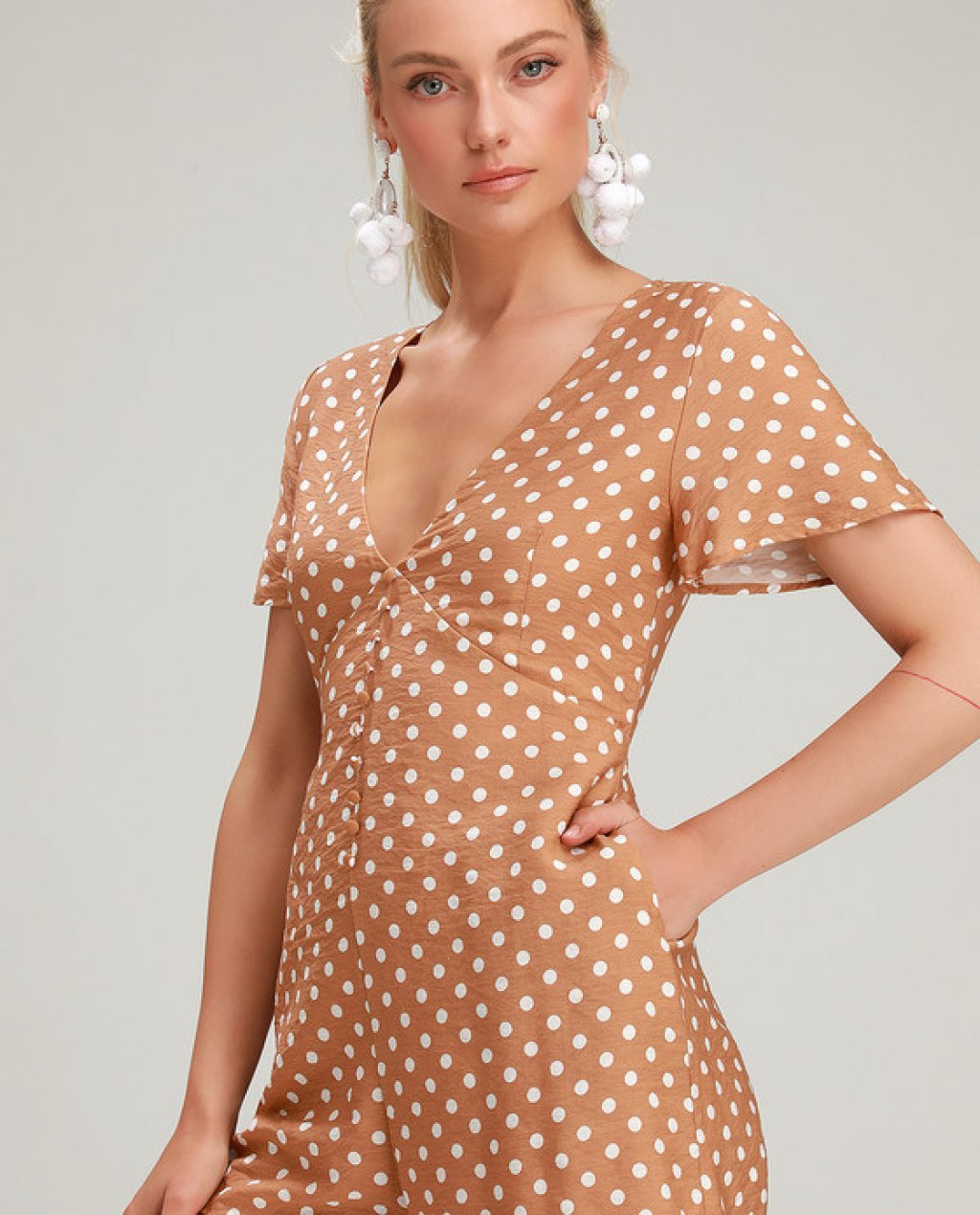 Challies Camel Brown and White Polka Dot Romper
