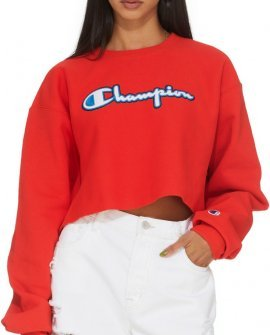 Champion  Reverse Weave Script Logo Cropped Cut Off Sweater - Red Flame
