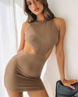Charli Side Cut Out Mini Dress Chocolate