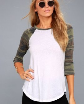 Charlie White and Green Camo Print Baseball Tee