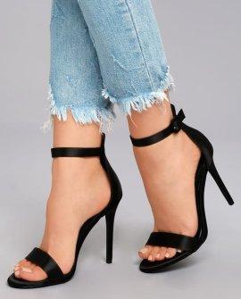 Charlize Black Satin Ankle Strap Heels