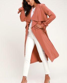 Charlotte Mauve Long Sleeve Trench Coat