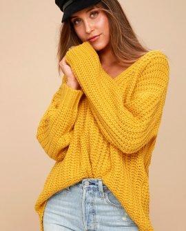 Charm Me Mustard Yellow Knit Sweater
