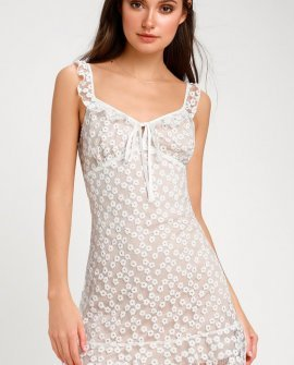 Charmaine White Embroidered Mini Dress