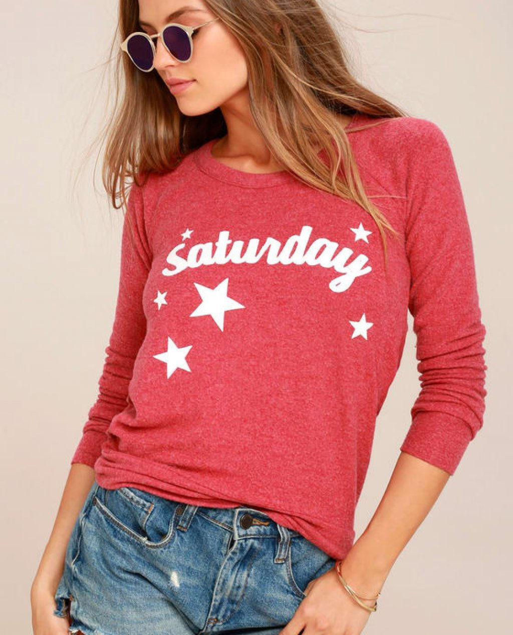 Chaser Saturday Washed Red Backless Sweatshirt